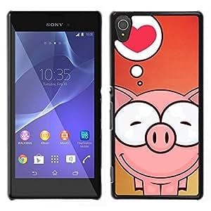 // PHONE CASE GIFT // Duro Estuche protector PC Cáscara Plástico Carcasa Funda Hard Protective Case for Sony Xperia T3 / Cute Pig Love /