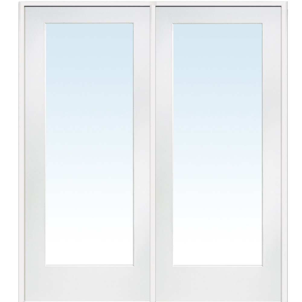 National Door Company Z009299R Primed MDF 1 Lite Clear Glass, Right Hand Prehung Interior Double Door, 60'' x 80''