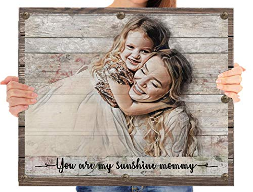 Personalized mothers day gifts from daughter from son grandma granddaughter wife husband cheap mommy and me custom portrait wall art prints mom ideas gifts for her women girls -