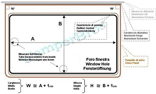 ricambi accessori Camper Caravan dimensione foro scocca WxH = 1000x600 Finestra Universale EUROPA Bronzo