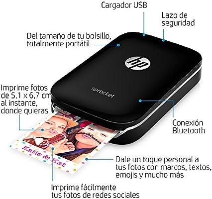 HP Sprocket - Impresora fotográfica portátil, color negro + 20 ...