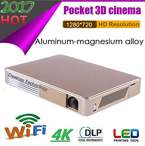 SJY Octa Core GPU Projector Aluminum-magnesium Alloy Android4.4 3D Wifi DLP Mini Portable 1280x720 Native Resolution Support 2160P 4K UHD1080P Home Theater Projector HDMI USB LED Lamp Golden