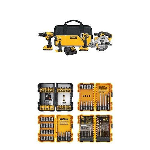 DEWALT DCK421D2 20V MAX Lithium-Ion 4-Tool Combo Kit, 2.0Ah w/ DWA2FTS100 Screwdriving and Drilling Set, 100 Piece