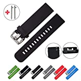 Quick Release Watch Bands - Choice of Colors & Widths (18mm, 20mm or 22mm) - Soft Silicone Rubber - 2 Extra Watch Pins (Black, 20mm)