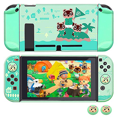 Protective Case Cover for Nintendo Switch, RHOTALL Dockable Case for Nintendo Switch and Joy-Con Controller with 2 Marshal Design Thumb Grips - (Animal Crossing Island Version)