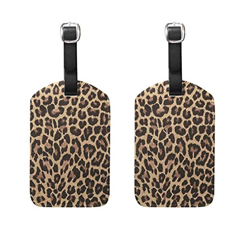 Custom Leopard Print Animal Cat Luggage Tag Travel ID Label Leather for Baggage Suitcase - Set of 2