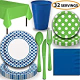 Disposable Tableware, 32 Sets - Royal Blue and Lime Green - Scallop Dinner Plates, Dotted Dessert Plates, Cups, Lunch Napkins, Cutlery, and Tablecloths: Premium Quality Party Supplies Set