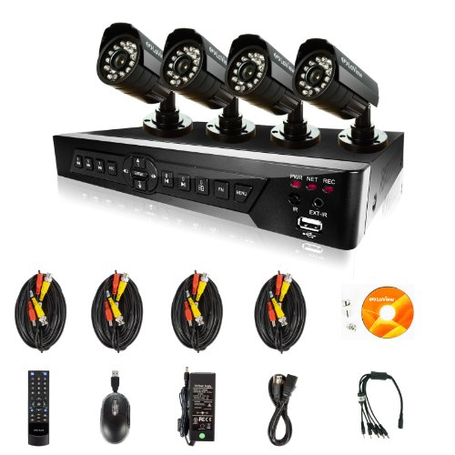 LaView 4 Camera Security System, D1 RealTime 4 Channel DVR w/500GB HDD and 4 Bullet 520TVL Day and Night Indoor/Outdoor Surveillance Kit
