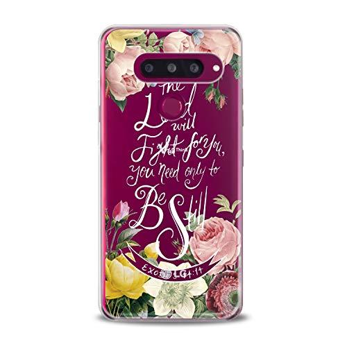 (Lex Altern LG TPU Case Stylo 4 K11 G7 ThinQ G6 V40 V35 Plus V20 Q8 K8 Bible Peony Blossom Rose Verse Exodus Clear Flower Christian Floral Cover Print Women)