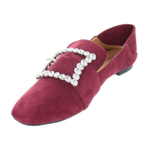 Urban Hakken Dames Flats Loafer Instappers Strass Gesp Bordeaux