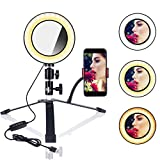B-Land 6.2'' Ring Light with Desktop Stand & Mirror for YouTube Videos & Makeup, LED Camera Selfie Light with Cell Phone Holder, Mini Makeup Mirror with Lights, 3 Modes & 10 Brightness