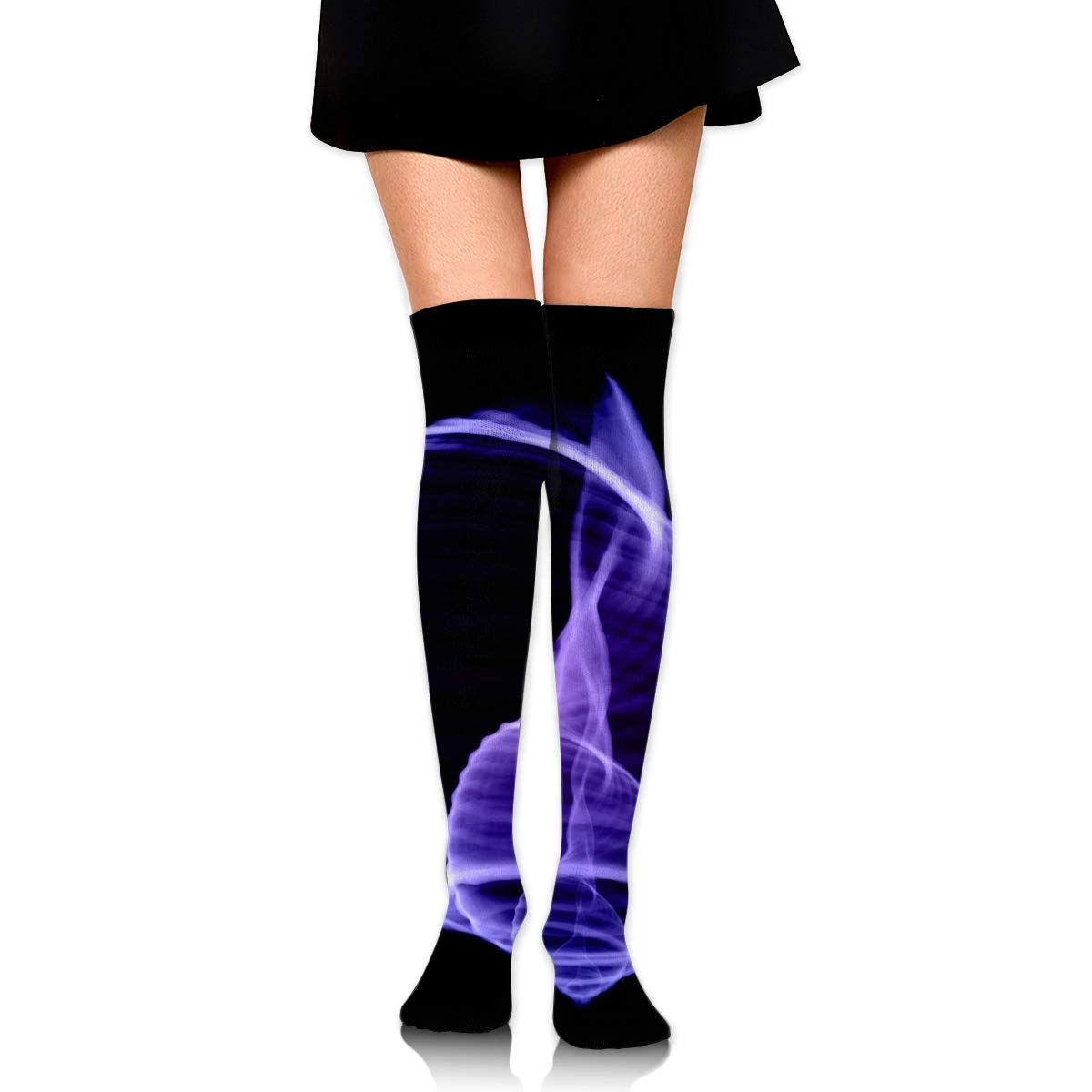 High Elasticity Girl Cotton Knee High Socks Uniform Purple Line Shell Women Tube Socks