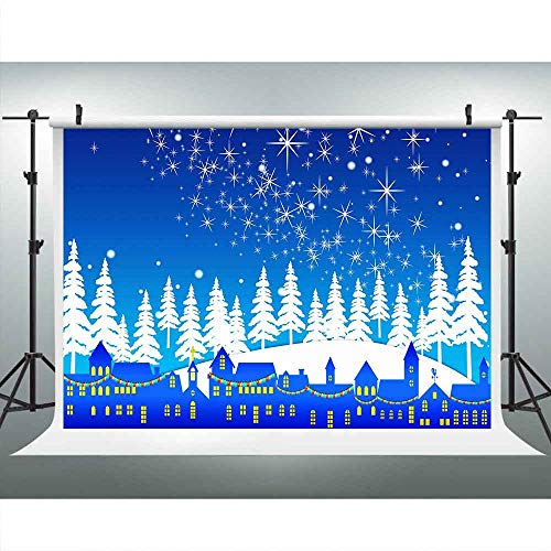 Wonderland Winter Room Roll (LUCKSTY Winter Wonderland White Backdrops for Photography 9x6FT Snowy Trees City Silhouette Blue Shiny Stars Photo Backgrounds for Xmas Party Room Mural Studio Props LUGE067)