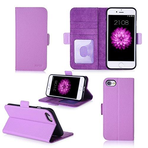 Apple iPhone 7 / iPhone 8 4.7 pouces : Housse Portefeuille luxe violette Cuir Style avec stand - Housse wallet coque de protection iPhone7 / iPhone8 avec porte cartes - Accessoires pochette XEPTIO : E