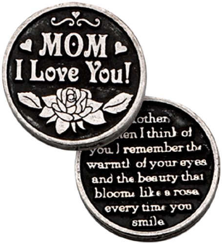 Mom I Love You Pewter Pocket Token with PJ Lamb Greeting Card, Mother's Day