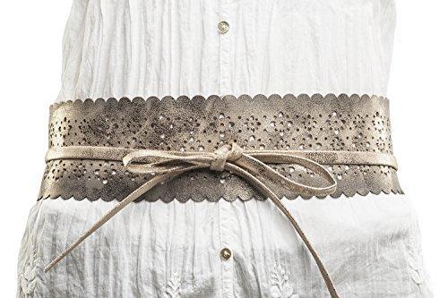 Shenky - Cinturón fajín para mujer - Estilo obi - Dorado - Talla única