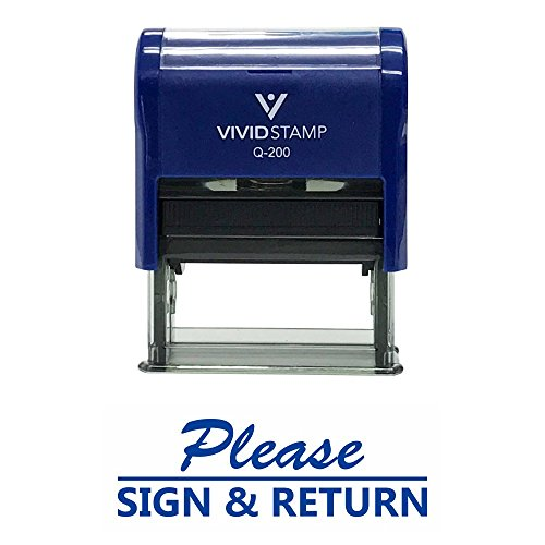 Please Sign and Return Self Inking Rubber Stamp (Blue Ink) - Medium ()