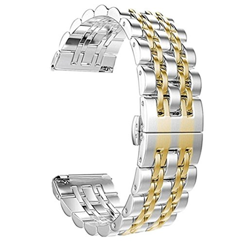 - Quick Release Bracelet - Genuine Stainless Steel Strap Wrist Band Replacement Watch Bands for Fitbit Versa Smart Watch (Gold)