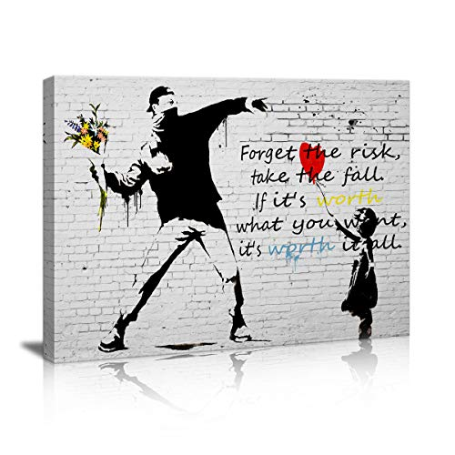 Canvas Prints Wall Art for Bedroom Balloon Girl and Rage The Flower Thrower Banksy Street Art Graffiti Guy Small Framed Artwork Black and White Wall Decor Pics Office Restaurant bar for Living Room