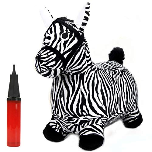 iPlay, iLearn Zebra Bouncy Animal, Hopping Horse, Inflatable Hopper, Indoor Outdoors Kindergarten Ride On Toy, Birthday Activities Gift for 2, 3, 4, 5 Year Old Kids Preschool Toddlers Boys Girls -