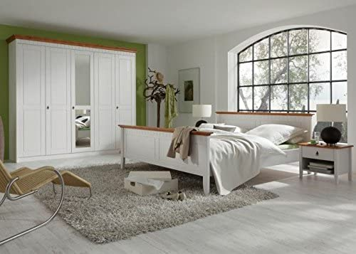 Schlafzimmer Komplett Capri 4er Set Kiefer Massiv Weiss Honig Holz 180 X 200 Amazon De Kuche Haushalt