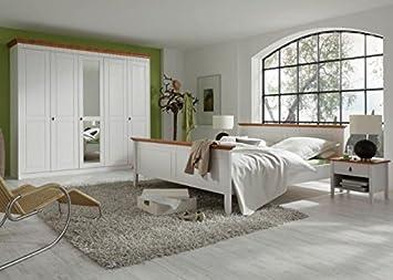 Schlafzimmer komplett Capri (4er Set) Kiefer massiv Weiss Honig Holz ...