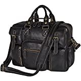 Berchirly Crazy Horse Leather Travel Shoulder Briefcase for 15.6 Inch Laptop Bag Black