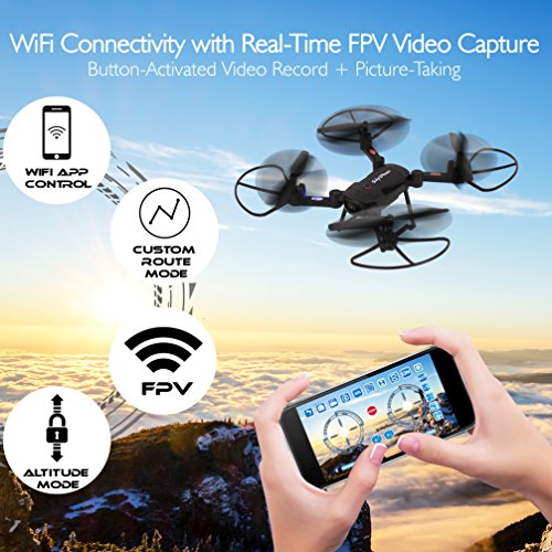 SereneLife-Wifi-FPV-Foldable-Drone-with-HD-Camera-and-live-Video-Headless-Mode-Quadcopter-Altitude-Hold-1-Key-TakeoffLanding-Custom-Route-Mode-13-Min-Long-Flight-Time
