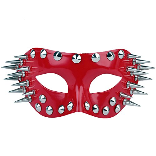 Masquerade Mask Venetian Butterfly Shiny Metal Mardi Gras Mask Multicolor (One size, - Red Ball Shiny