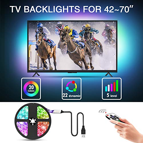 Mounting Dream Led Strip Lights with Remote 9.8ft for 42-70 inch TVs, Waterproof USB TV Backlight Kit, LED Light Strip with 20 Colors Changing 5050 for Car, Bedroom, HDTV, PC Monitor, Home, MD50S425 (Led Light Home Theater)