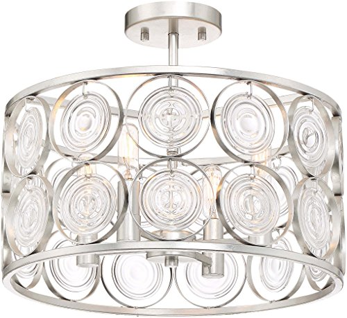 Minka Lavery Crystal Semi Flush Mount Ceiling Light 3669-598 Culture Chic Lighting Fixture, 4-Light 240 Watts, Catalina -