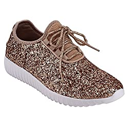 Forever Link Women S Remy 18 Glitter Fashion Sneakers Rosegold 9