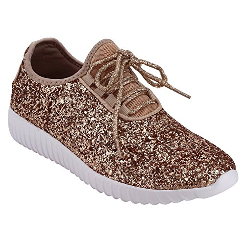 Forever Link Women's REMY-18 Glitter Fashion Sneakers Rosegold -
