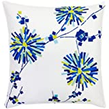 Trina Turk Trellis Turquoise Flower Embroidered Decorative Pillow, 18 by 18-Inch, Blue