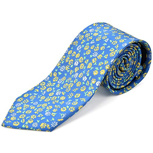 Ike Behar Boys 52'' Baby Blue And Yellow Floral Tie by Ike Behar