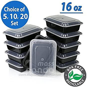 Amazoncom Meal Prep Containers 1 Compartment Plastic Food