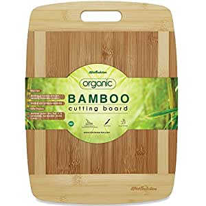 """Kitchen Active Bamboo Cutting Board. Premium Natural Bamboo Boards Are Best For Chopping Brie Cheese, Vegetable, Pastry Lemon, Watermelon, French Bread & More. 15""""X12"""" With Big Wood One Handed Handle"""