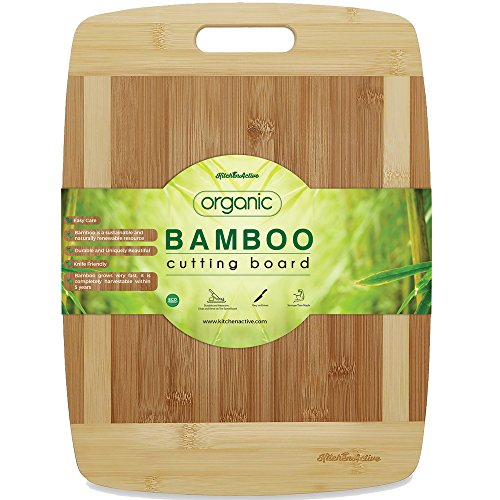 "Kitchen Active Bamboo Cutting Board. Premium Natural Eco Friendly Boards Are Best For Chopping Brie Cheese, Vegetable, Pastry Lemon, Watermelon, French Bread. 13""X10"" With Big Wood One Handed Handle"