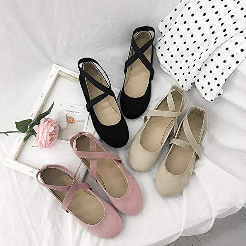 Taille Ballet On 39 Noir Femme Eu Qiusa Slip Chaussures Rose Flats Comfort Strappy coloré CfRxvR