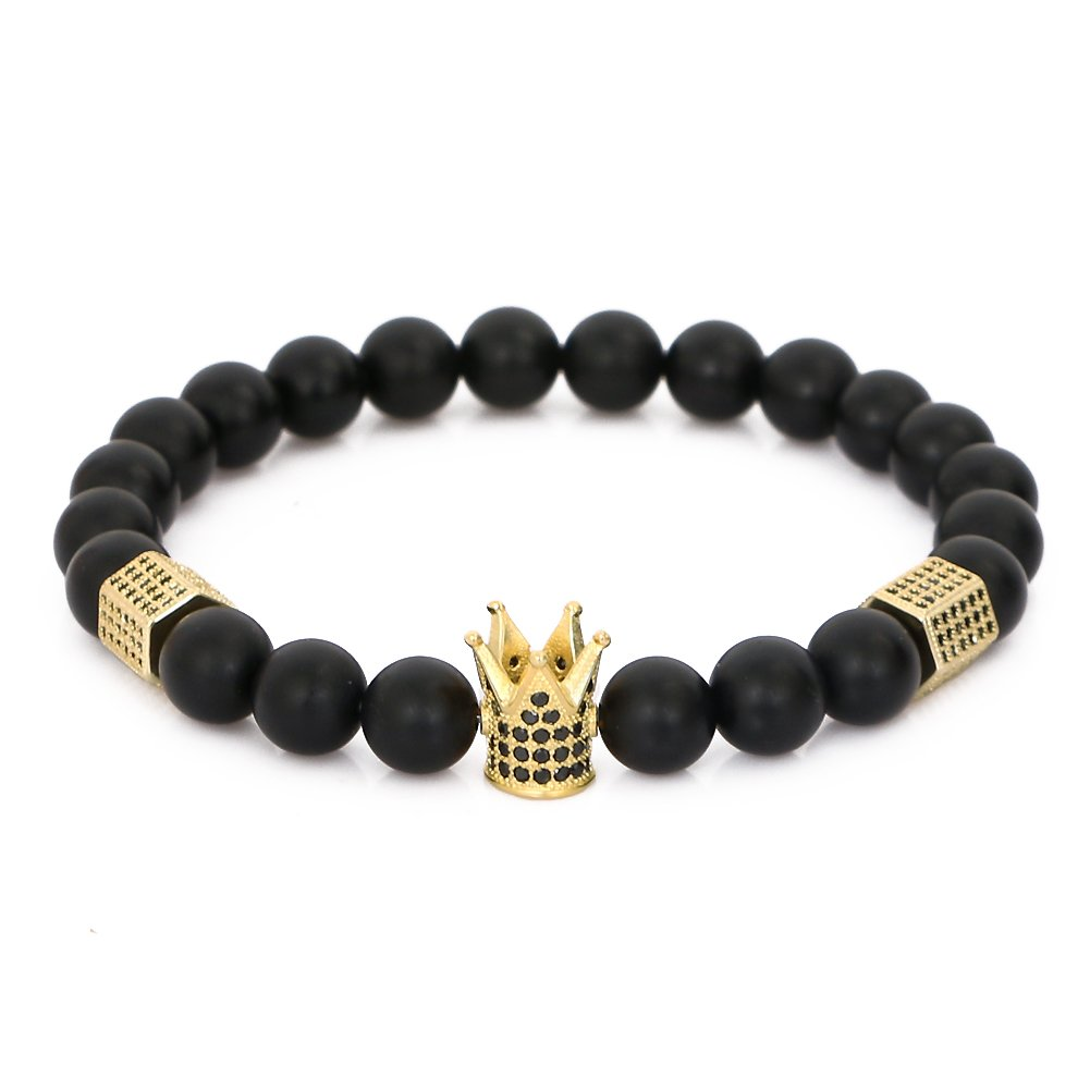 LOLOJ 8mm Black Matte Onyx Stone Micro Pave CZ Zirconia King Crown Charm Stretch Bracelet for Men 7.5