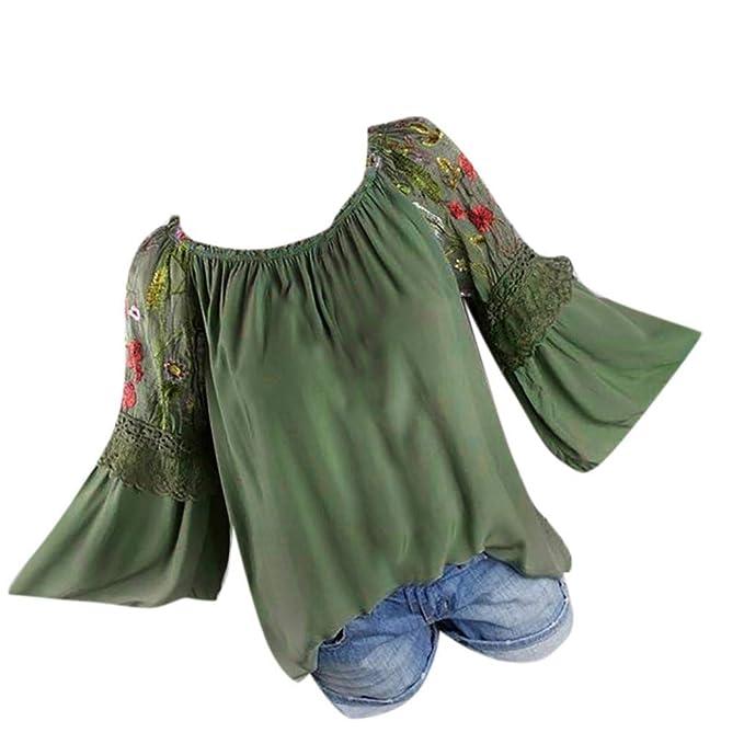 Amazon.com: Orangeskycn Blusa con cuello en O para mujer ...