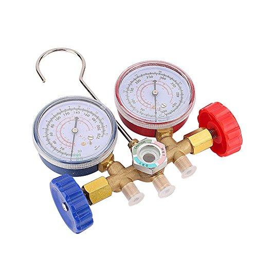 Keenso Manifold - Juego de manómetros con manguera de 80 cm para R12 R22 R502, herramientas profesionales de refrigeración...