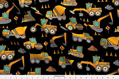Excavator Truck Eco - Spoonflower Construction Fabric - Construction Machinery Earthmoving Digger Excavator Earthworks Truck - by Samalah Printed on Eco Canvas Fabric by The Yard