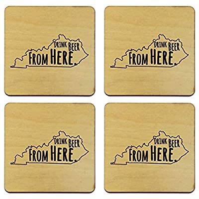Drink Beer From Here Drink Coasters - Available in All States - Made in the USA - State Pride Gift