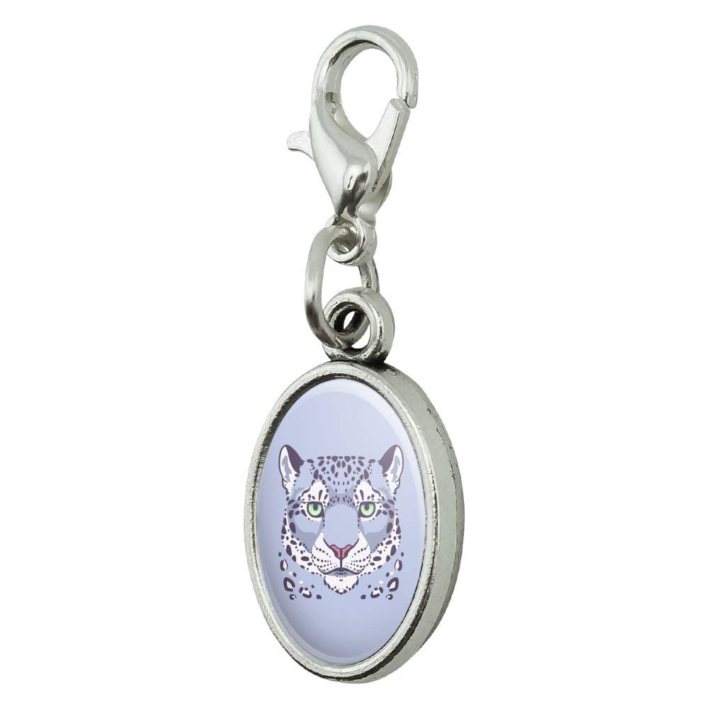 GRAPHICS /& MORE Spotted Snow Leopard Face Antiqued Bracelet Pendant Zipper Pull Oval Charm with Lobster Clasp