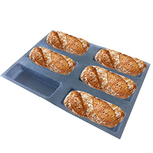 Bluedrop Silicone Bread Forms Square Shape Bread Molds Non Stick Bakery Trays Silicone Coated Fiber Glass 6 Caves Rectangle (Molds Silicone Bakery)