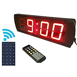 GANXIN App-Control 4'' High 4 Digits LED Wall Clock, With Countdown/up Digital Timer, 12/24-Hour Real Time Clock, Stopwatch by Remote Control