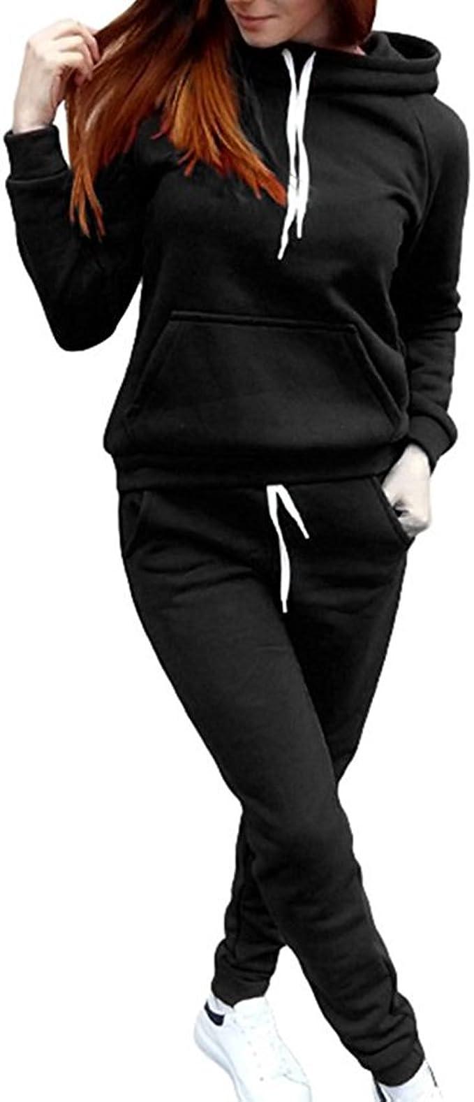Donna 2 Pezzi Tuta da Ginnastica Manica Lunga Camicetta e Pantaloni Lungo Moda Tuta Jogging Training Sportiva Casual Abbigliamento Sportivo
