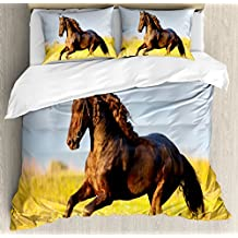 Animal Decor Duvet Cover Set by Ambesonne, Friesian Horse with Mane Gallops in Meadow Equestrian Mystery Vitality Horse Theme, 3 Piece Bedding Set with Pillow Shams, King Size, Yellow Brown Blue