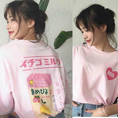 HaoKe Women Girls Japanese Kawaii Strawberry Milk Box Graphic T-Shirt Fairy Kei Short Sleeve Pink Gift